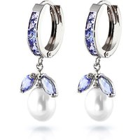 Tanzanite and Pearl Dewdrop Huggie Earrings in 9ct White Gold