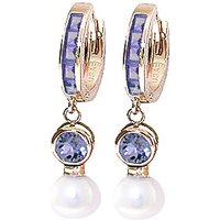 Tanzanite and Pearl Huggie Earrings in 9ct Rose Gold