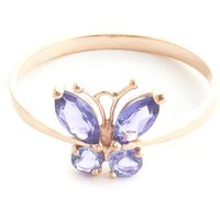 Tanzanite Butterfly Ring 0.4 ctw in 9ct Rose Gold - Fashion Gifts