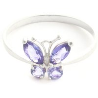 Tanzanite Butterfly Ring 0.6 ctw in 9ct White Gold - Fashion Gifts