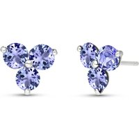 Tanzanite Trinity Stud Earrings 1.5 ctw in 9ct White Gold