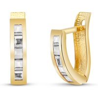 White Topaz Acute Huggie Earrings 1.2 ctw in 9ct Gold - Jewellery Gifts