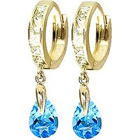 White Topaz & Blue Topaz Huggie Drop Earrings in 9ct Gold - Jewellery Gifts