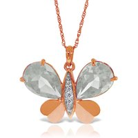 White Topaz & Diamond Butterfly Pendant Necklace in 9ct Rose Gold - Fashion Gifts