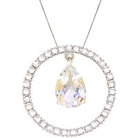 White Topaz & Diamond Circle of Life Pendant Necklace in 9ct White Gold - Life Gifts