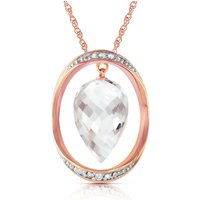 White Topaz & Diamond Drop Pendant Necklace in 9ct Rose Gold - Qp Jewellers Gifts