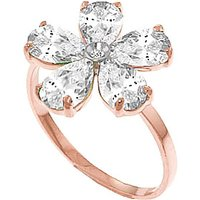 White Topaz and Diamond Five Petal Ring in 9ct Rose Gold