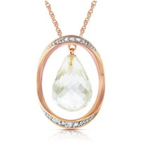White Topaz & Diamond Pendant Necklace in 9ct Rose Gold - Qp Jewellers Gifts