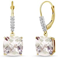 White Topaz & Diamond Rococo Drop Earrings in 9ct Gold - Cushion Gifts