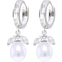 White Topaz and Pearl Dewdrop Huggie Earrings in 9ct White Gold