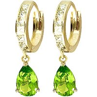 White Topaz & Peridot Huggie Drop Earrings in 9ct Gold - Jewellery Gifts