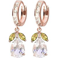 White Topaz and Peridot Huggie Drop Earrings in 9ct Rose Gold