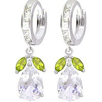 White Topaz and Peridot Huggie Drop Earrings in 9ct White Gold