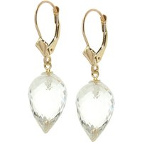 Image of White Topaz Briolette Drop Earrings 24.5 ctw in 9ct Gold
