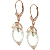 White Topaz Briolette Drop Earrings 25.5 ctw in 9ct Rose Gold