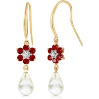 White Topaz, Diamond and Ruby Daisy Chain Drop Earrings in 9ct Gold