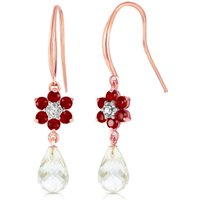 White Topaz, Diamond and Ruby Daisy Chain Drop Earrings in 9ct Rose Gold