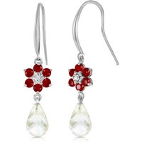 White Topaz, Diamond and Ruby Daisy Chain Drop Earrings in 9ct White Gold