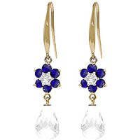 White Topaz, Diamond and Sapphire Daisy Chain Drop Earrings in 9ct Gold