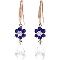 White Topaz, Diamond and Sapphire Daisy Chain Drop Earrings in 9ct Rose Gold