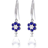 White Topaz, Diamond and Sapphire Daisy Chain Drop Earrings in 9ct White Gold