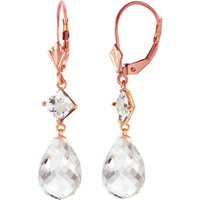 White Topaz Drop Earrings 11 ctw in 9ct Rose Gold
