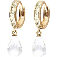 White Topaz Droplet Huggie Earrings 5.35 ctw in 9ct Gold - Jewellery Gifts
