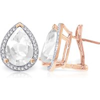 White Topaz French Clip Earrings 11.22 ctw in 9ct Rose Gold