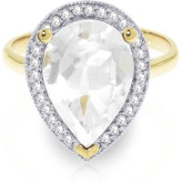 White Topaz Halo Ring 5.61 ctw in 9ct Gold