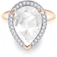 White Topaz Halo Ring 5.61 ctw in 9ct Rose Gold