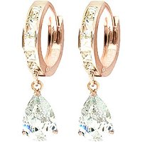 White Topaz Huggie Drop Earrings 1.2 ctw in 9ct Rose Gold