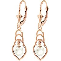 White Topaz Wireframe Drop Earrings 1.25 ctw in 9ct Rose Gold