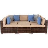 Rattan Garden Day Bed Sofa Set in Brown - Geneva - Rattan Direct