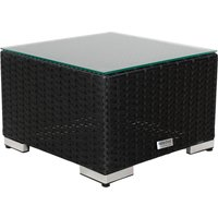 Small Square Rattan Garden Side Table in Black With Glass Top - Rattan Direct