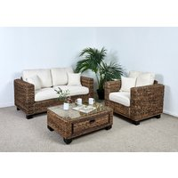 Conservatory 2 Seat Large Sofa Set - 1x Sofa, 1x Armchair, 1x Medium Coffee Table in Oatmeal - Kensington Abaca
