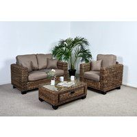 2 Seat Medium Conservatory Sofa Set - 1x Sofa, 1x Armchair, 1x Medium Coffee Table in Autumn Biscuit - Kensington Abaca