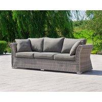 3 Seat Rattan Garden Sofa in Grey - Lisbon - Rattan Direct