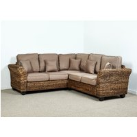 Rattan Conservatory Corner Sofa in Autumn Biscuit - Kingston Abaca 161cm x 216cm