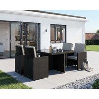 4 Seat Rattan Garden Cube Dining Set in Black & White - 5 Piece - Barcelona - Rattan Direct