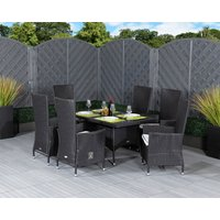 Small Rectangular Rattan Garden Dining Table & 6 Reclining Chairs in Black & White - Cambridge - Rattan Direct