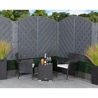 Rattan Garden 2 Seater Square Bistro Set in Black & White - Cambridge - Rattan Direct