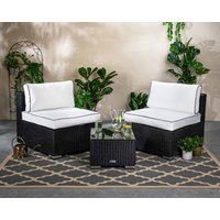 Rattan Garden 2 Seater Bistro Set - Black & White - Florida - Rattan Direct