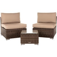 Rattan Garden Bistro Set with Small Square Side Table - in Truffle Brown - Florida - Rattan Direct
