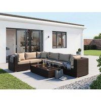 Rattan Garden Corner Sofa Set in Brown - Geneva - Rattan Direct