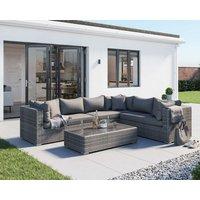 Rattan Garden Lefthand Corner Sofa Set in Grey - Monaco - Rattan Direct