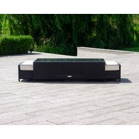 Rattan Garden Coffee Table with 2 Footstools in Black & White - Ascot - Rattan Direct