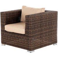 Rattan Garden Armchair in Truffle Brown - Ascot - Rattan Direct