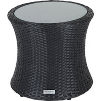 Rattan Garden Tall Round Side Table in Black - Rattan Direct