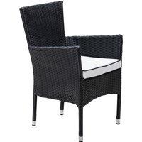 Stackable Rattan Garden Chair in Black & White - Cambridge - Rattan Direct