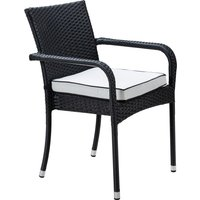 Stacking Rattan Garden Chair in Black & White - Roma - Rattan Direct
